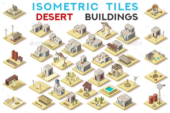 GraphicRiver Isometric Tile Set Buildings Farming Game Icons 20658594