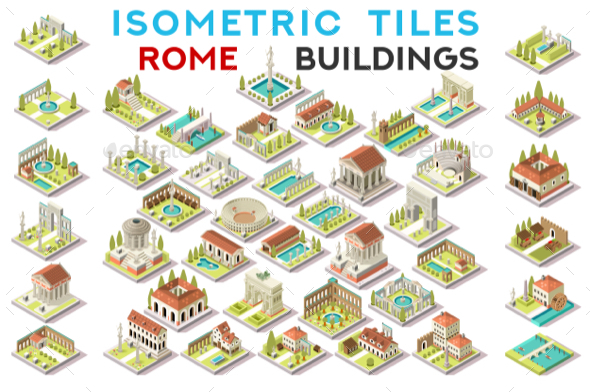 GraphicRiver Isometric Tile Set Buildings Roman Game Icons 20658598
