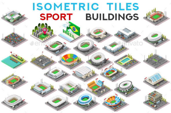 GraphicRiver Isometric Tile Set Buildings Sport Game Icons 20658608