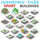Isometric Tile Set Buildings Sport Game Icons