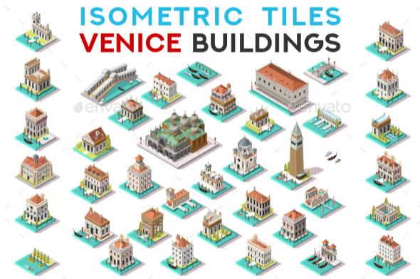 GraphicRiver Isometric Tile Set Buildings Venice 3D View Icons 20658616