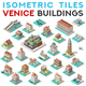 Isometric Tile Set Buildings Venice 3D View Icons