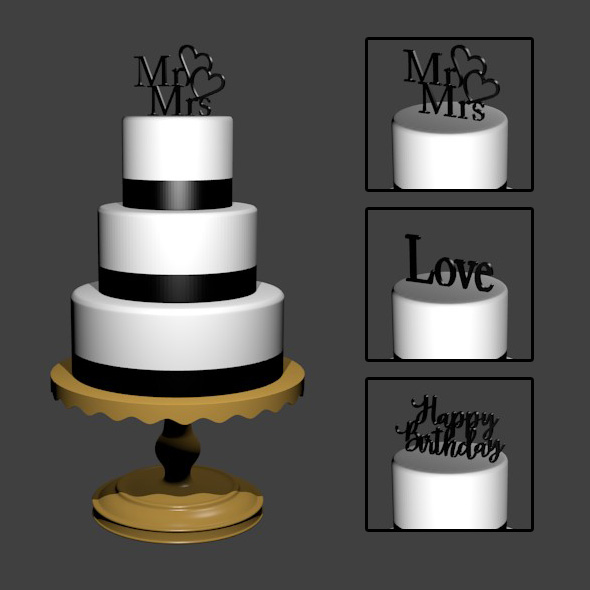3 Tier Round Cake - 3DOcean Item for Sale