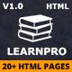 Education Course HTML5 Template - LearnPro - ThemeForest Item for Sale