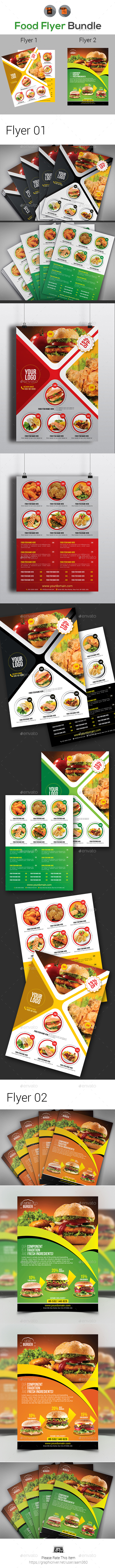 Food Menu Flyer Bundle Template - Restaurant Flyers
