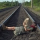 Boy Lying on Train Rails - VideoHive Item for Sale