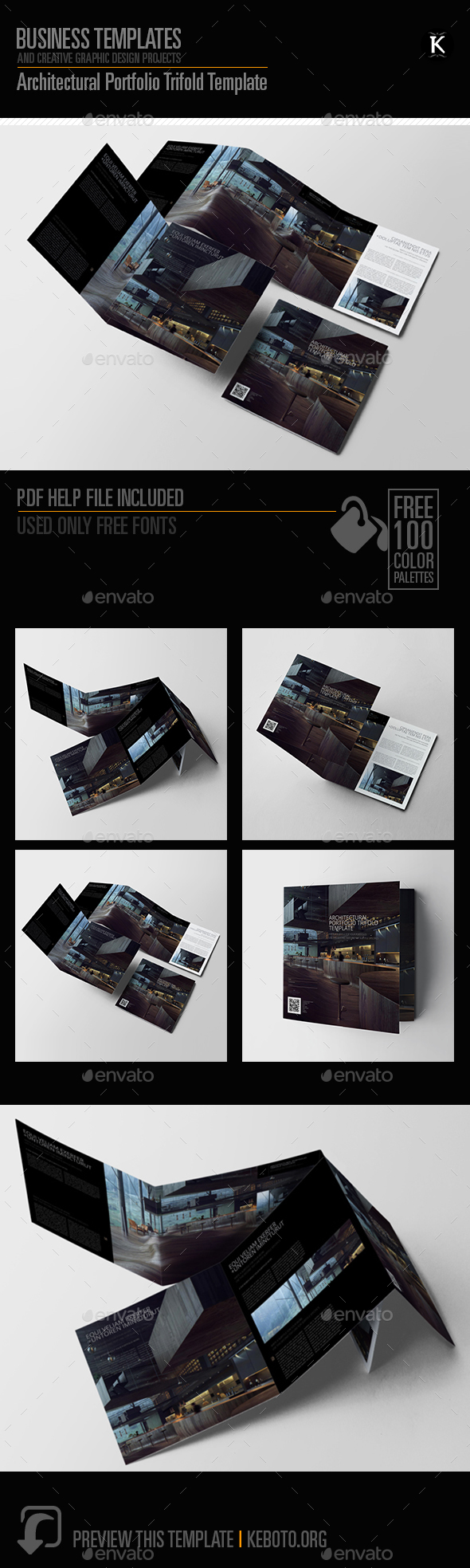 Architectural Portfolio Trifold Template - Portfolio Brochures