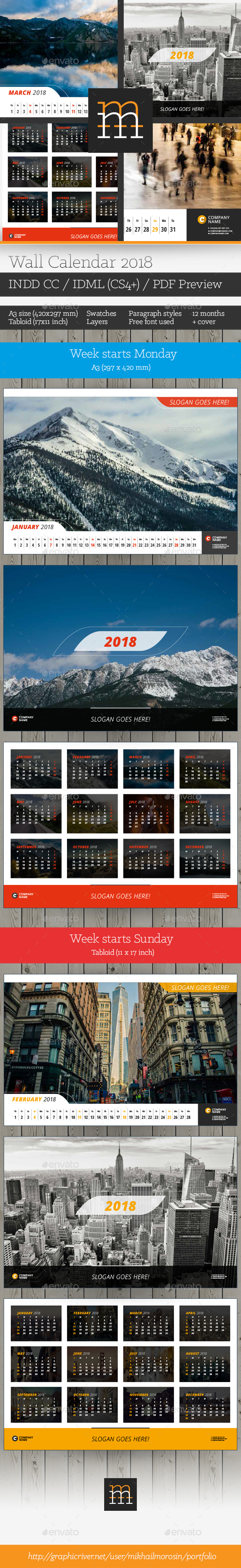 GraphicRiver Wall Calendar 2018 20659046