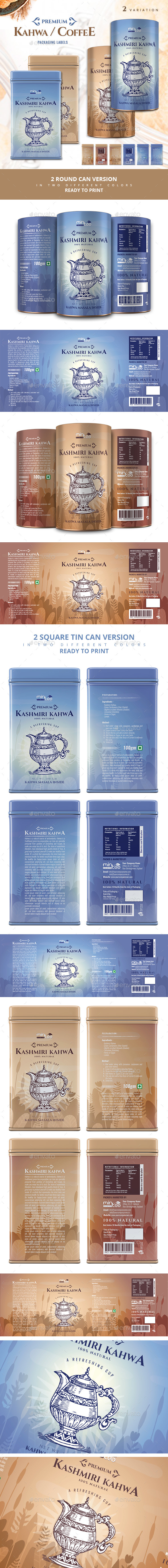 Kahwa / Coffee Packaging - Packaging Print Templates