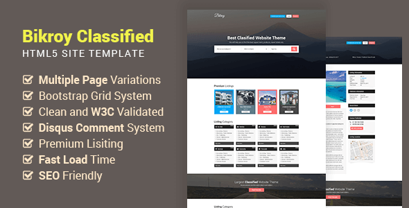 Download Bikroy - Classified, Directory Listing Website HTML Template