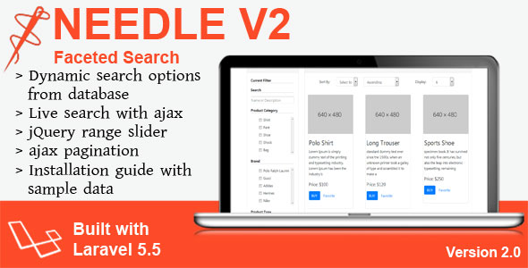 CodeCanyon Needle V2 Laravel Faceted Search 20659238