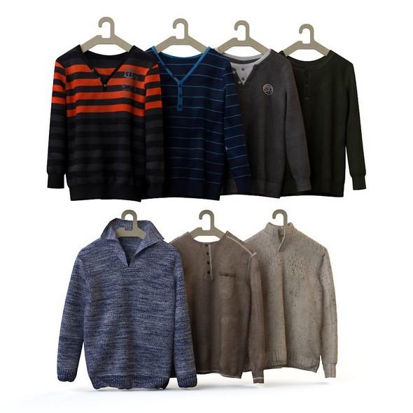 Set of men's wear, shirt, blouse, shirt, cardigan 2 - 3DOcean Item for Sale