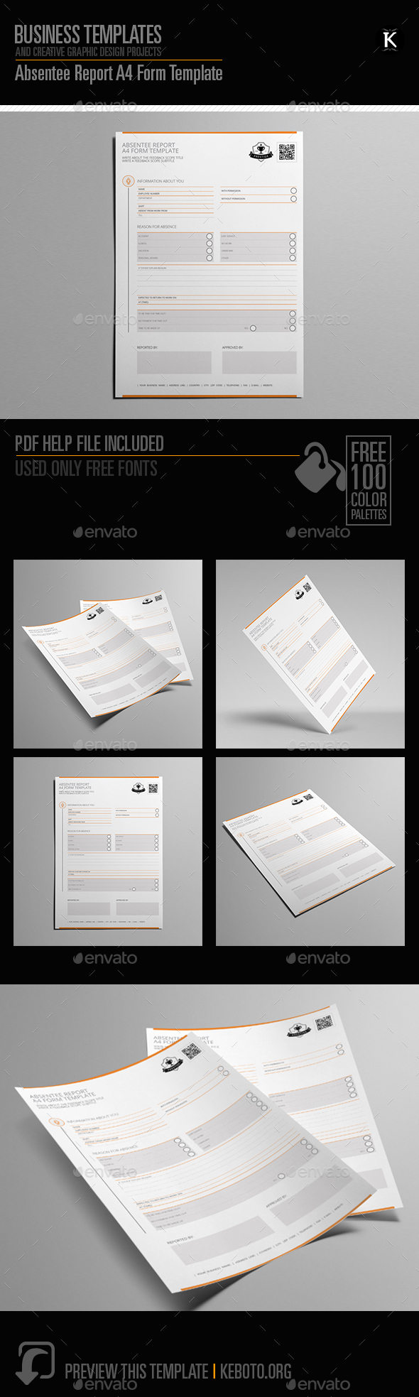 Absentee Report A4 Form Template - Miscellaneous Print Templates