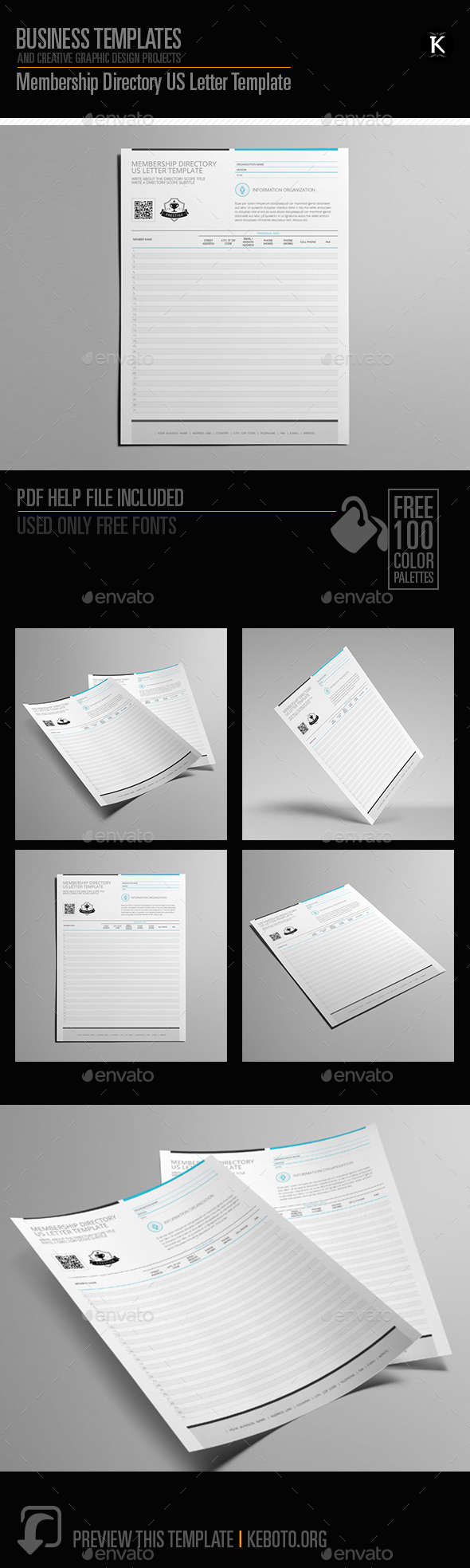 Membership Directory US Letter Template - Miscellaneous Print Templates