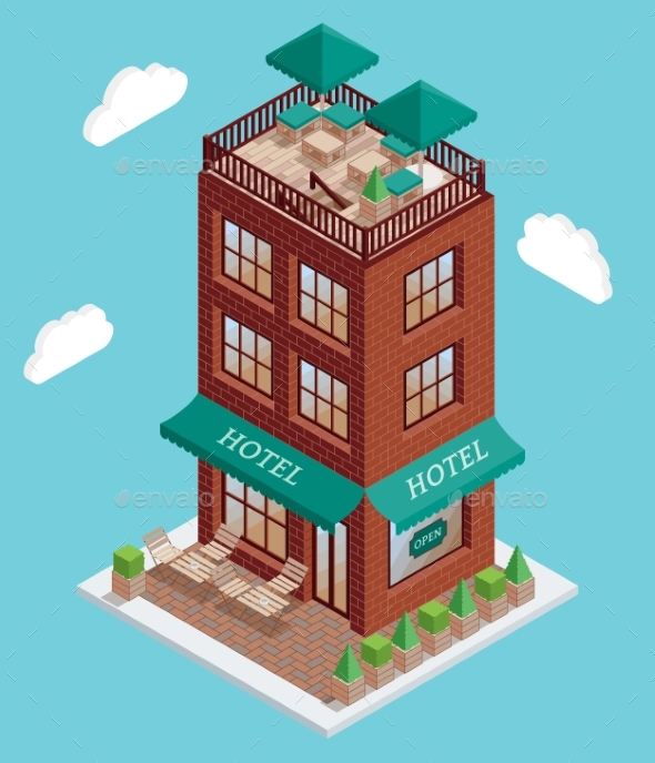 Hotel Icon in Vector Isometric Style. Illustration - Buildings Objects