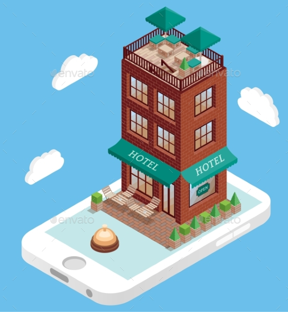Hotel Building on Mobile Phone Screen in Vector - Buildings Objects