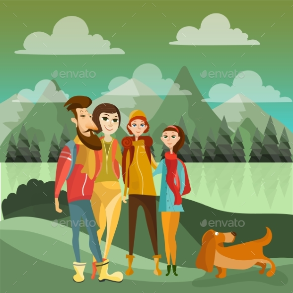Family Hiking in Mountains Concept Vector Poster - Sports/Activity Conceptual