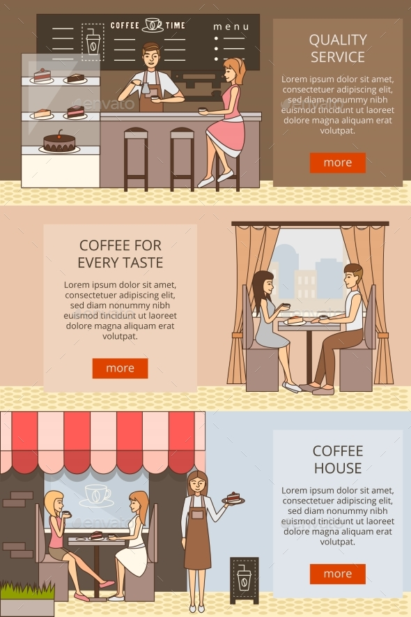 GraphicRiver Vector Set of Coffee Time Horizontal Banners 20659894