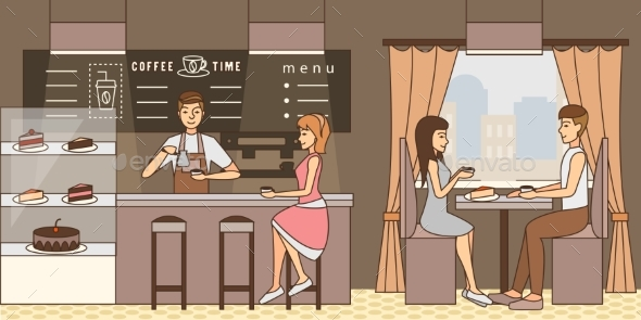 Coffee Time Concept Vector Illustration in Flat - Retail Commercial / Shopping