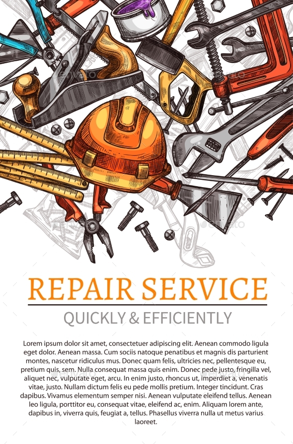 GraphicRiver Work Tools Vector Poster for Repair Service 20660104