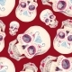 Watercolor Skull Seamless Pattern