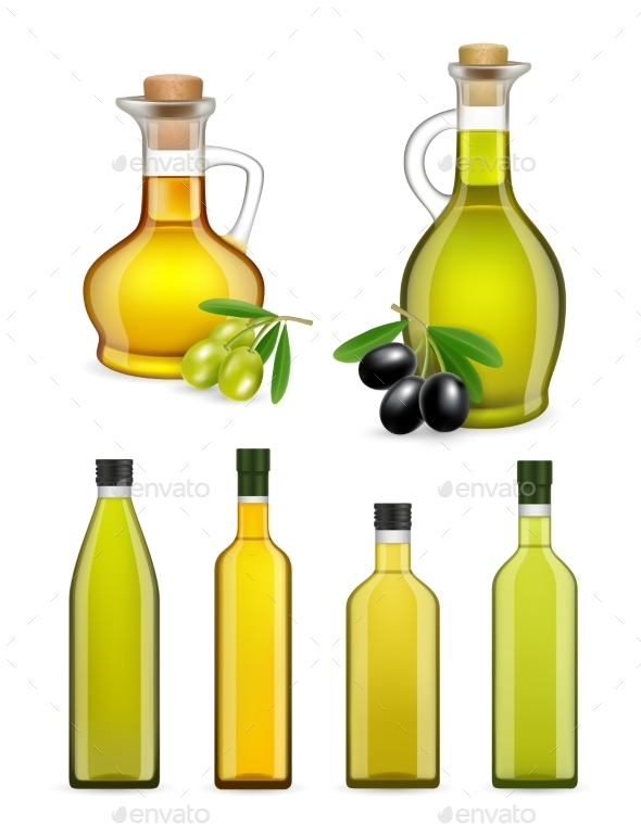 Vector Realistic Glass Olive Oil Bottles and Jars - Food Objects