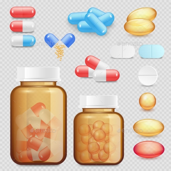 GraphicRiver Vector Realistic Drugs and Pills Icon Set 20660516