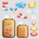 Vector Realistic Drugs and Pills Icon Set