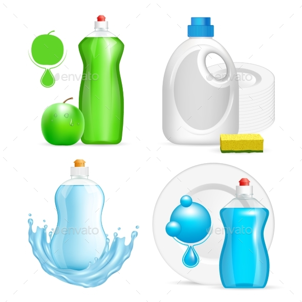 Vector Realistic Dishwashing Liquid Product Icon - Man-made Objects Objects