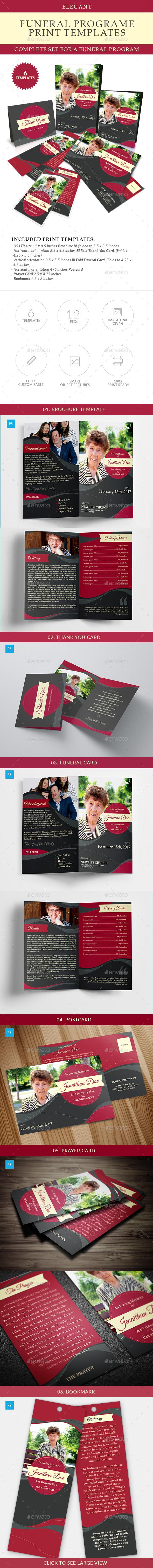 Elegant Funeral Program Templates Combo Set - Miscellaneous Print Templates