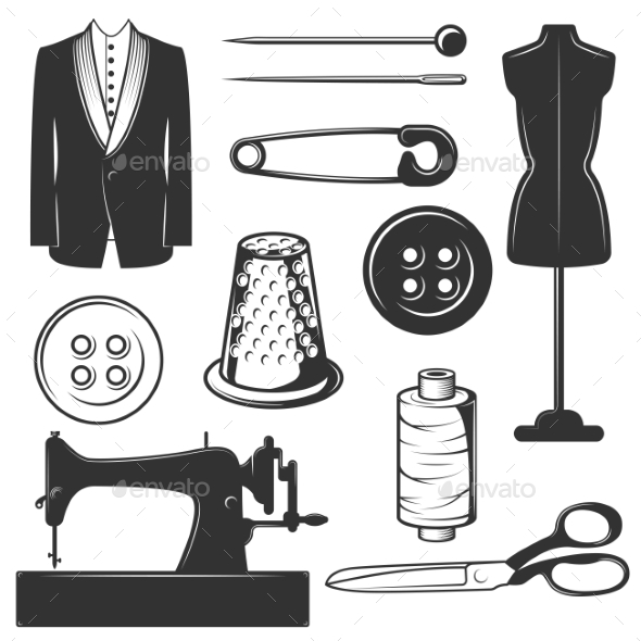 GraphicRiver Vector Vintage Tailor Icons 20660684