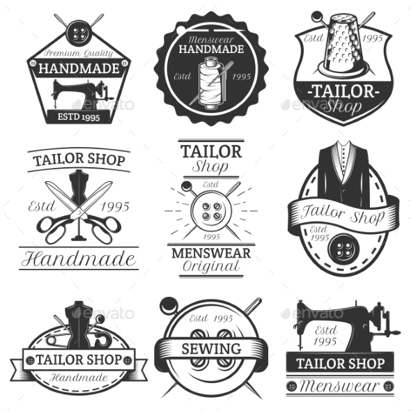 Vector Set of Vintage Tailor Labels - Decorative Symbols Decorative
