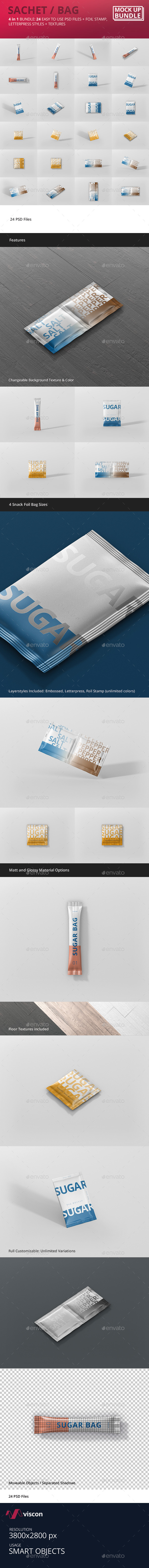 GraphicRiver Sachet Bag Mockup Bundle 20661004