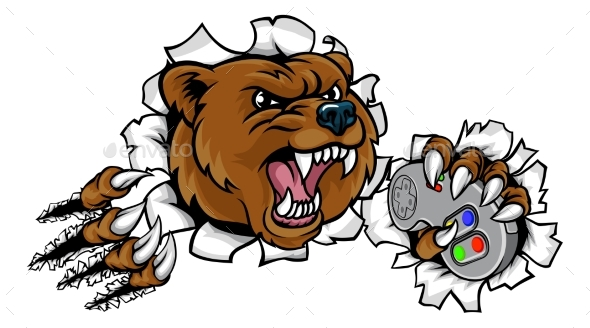 GraphicRiver Bear Angry Sports Mascot 20661071
