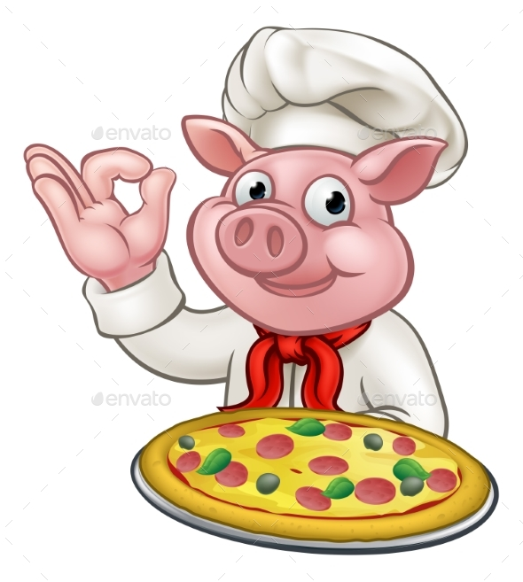 GraphicRiver Cartoon Pizza Chef Pig Character Mascot 20661088