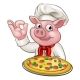 Cartoon Pizza Chef Pig Character Mascot - GraphicRiver Item for Sale