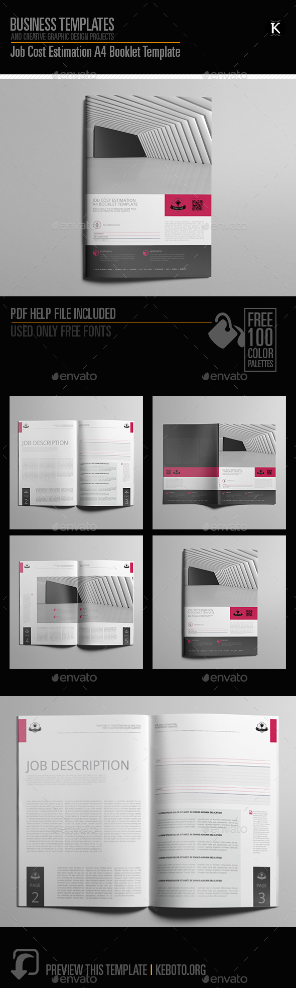 Job Cost Estimation A4 Booklet Template - Miscellaneous Print Templates