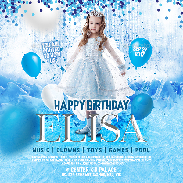 Frozen Theme Kid Birthday Invitation Flyer Poster Instagram - Birthday invitation frozen theme