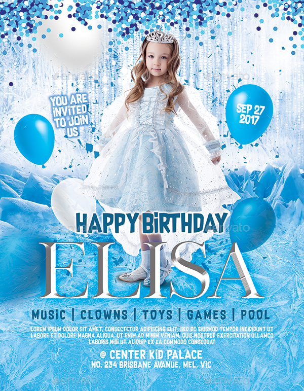 Frozen theme kid birthday invitation flyer poster instagram 290 frozen birthdayinstag filmwisefo