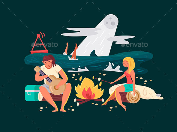 GraphicRiver Night Picnic on Beach 20661612