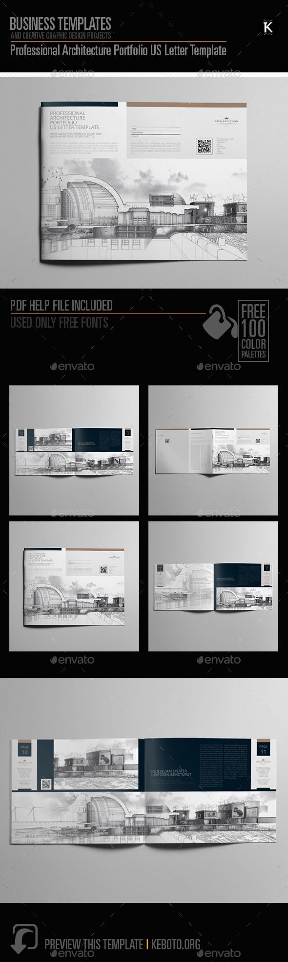 professional architecture portfolio us letter template by keboto graphicriver. Black Bedroom Furniture Sets. Home Design Ideas