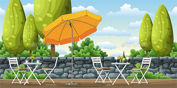 Illustration of a Balcony with Tables and Chairs - Miscellaneous Vectors