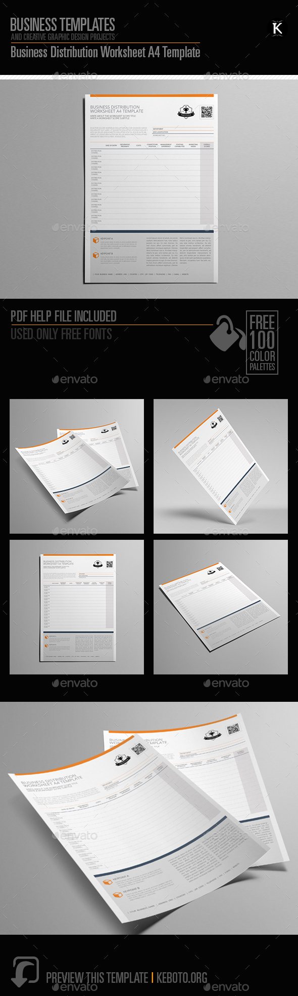 Business Distribution Worksheet A4 Template - Miscellaneous Print Templates