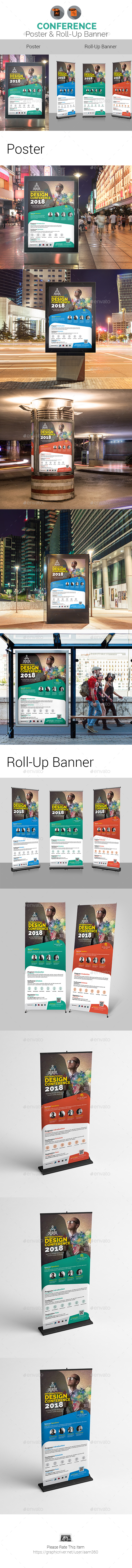 Conference Poster & Roll-Up Bundle Templates - Signage Print Templates