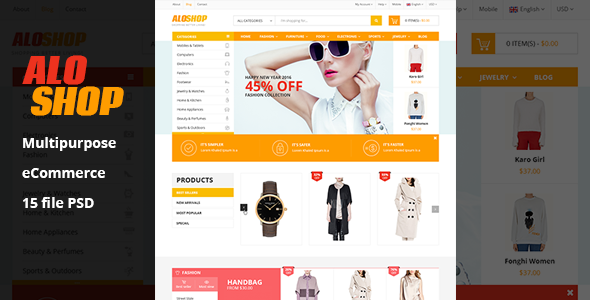 Aloshop | eCommerce PSD Template - Retail PSD Templates