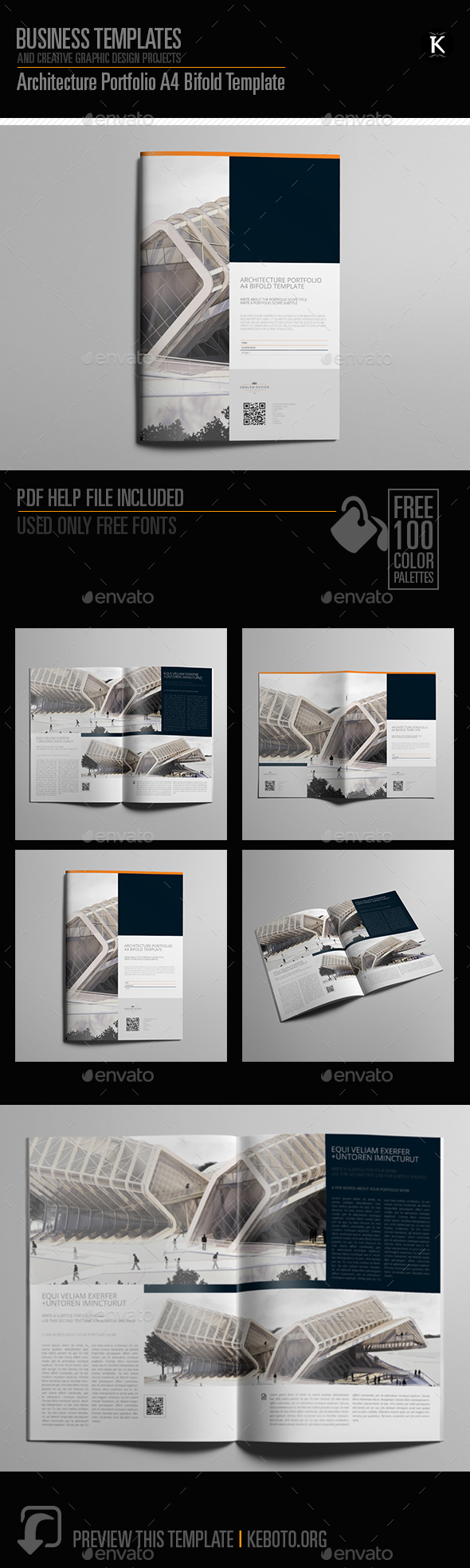 architecture portfolio a4 bifold template by keboto graphicriver. Black Bedroom Furniture Sets. Home Design Ideas