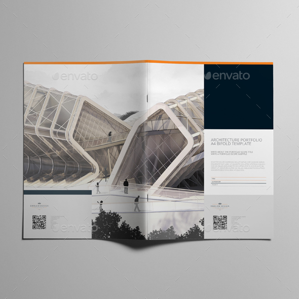 architecture portfolio a4 bifold template by keboto