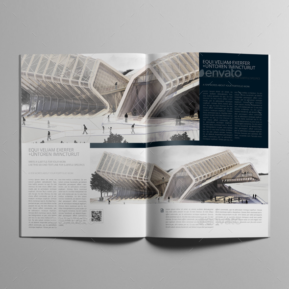 Architecture Portfolio A4 Bifold Template By Keboto