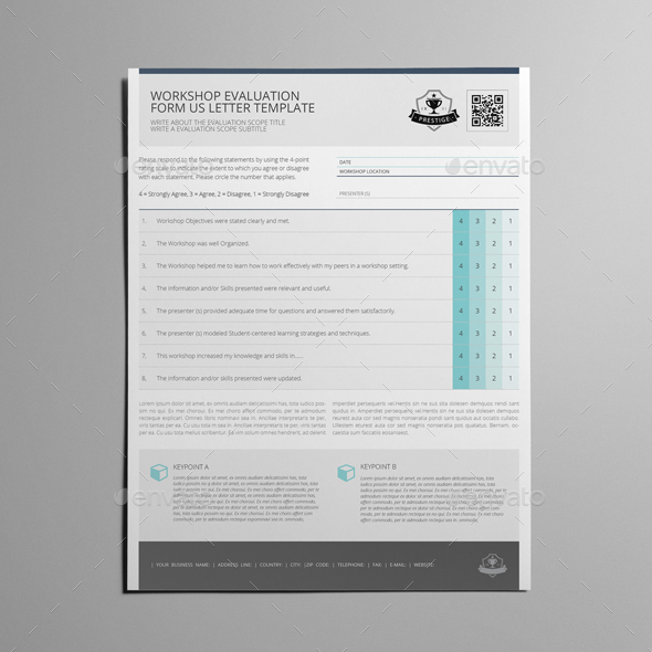 Workshop Evaluation Form Us Letter Template By Keboto  Graphicriver