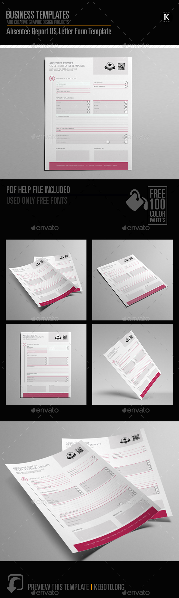 GraphicRiver Absentee Report US Letter Form Template 20662267